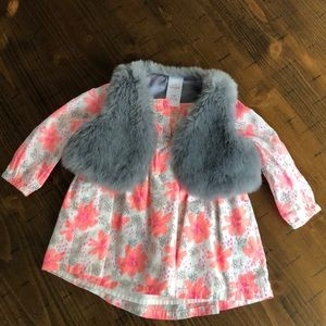 Cat and Jack Floral Dress and Furry Vest